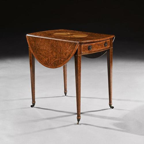 Rare 18th Century George III Yew-wood Inlaid Oval Pembroke Table (1 of 6)