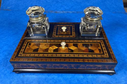 Victorian Rosewood & Tunbridge Ware Inkstand by Thomas Barton (1 of 24)