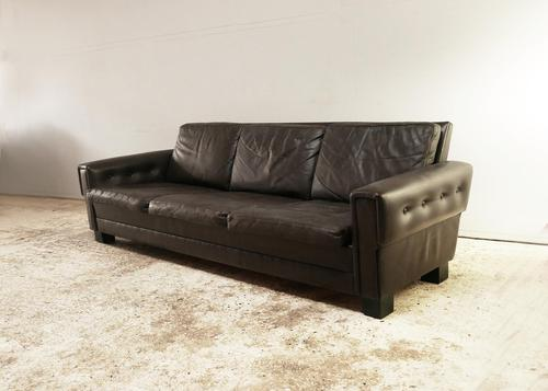 1970's Danish Leather 3 Seat Sofa (1 of 6)
