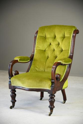Antique Mahogany & Green Upholstered Armchair (1 of 11)