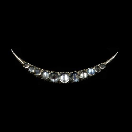 Antique Moonstone Crescent Moon Sterling Silver Brooch Pin (1 of 8)
