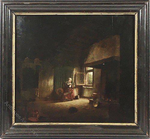 17th / 18th Century Dutch Oil on Oak Panel Old Lady Spinner Manner of Quirijn Van Brekelenkamp Interior Scene Portrait Painting (1 of 7)