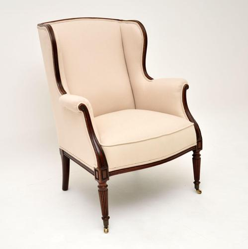Antique Victorian Mahogany Wing Back Armchair (1 of 10)