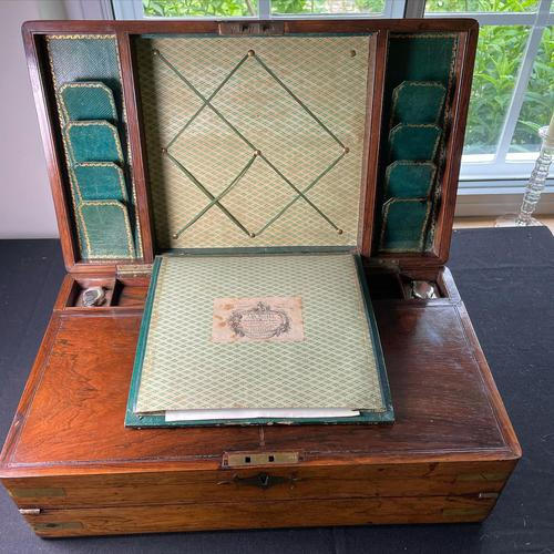 Regency Brass Bound Rosewood Campaign Writing Slope by John Walker (1 of 5)