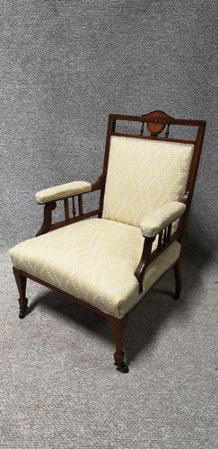 Reupholstered Edwardian Inlaid Armchair (1 of 6)
