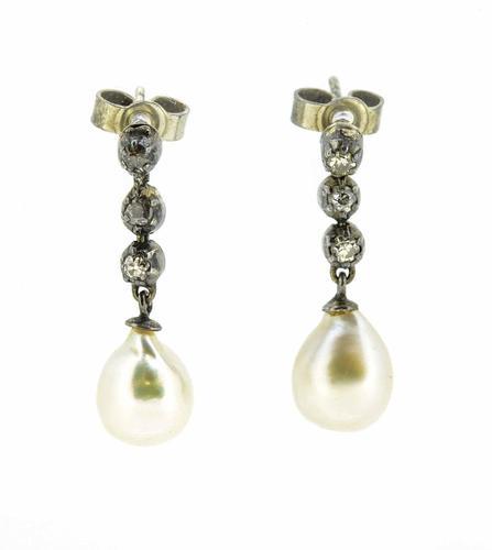 Late Victorian / Edwardian Pearl & Diamond Drop Earrings (1 of 5)