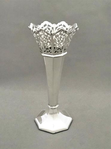 Gorgeous George V Pierced Silver Stem Vase (1 of 4)