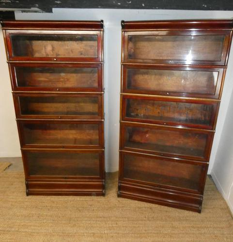 Pair of English Stamped Globe Wernicke Bookcases (1 of 9)