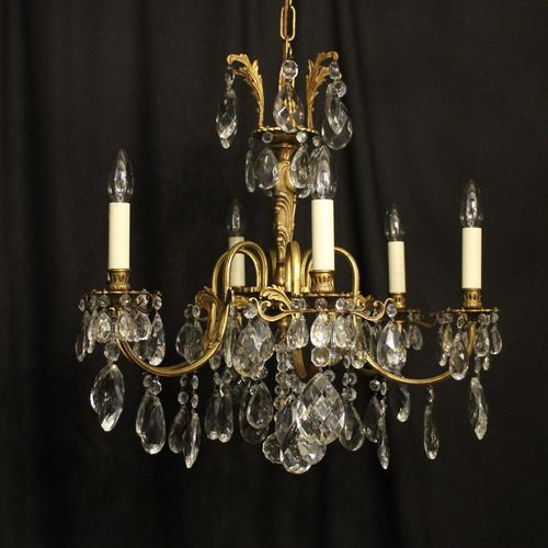 Italian Gilded & Crystal 6 Light Antique Chandelier (1 of 10)