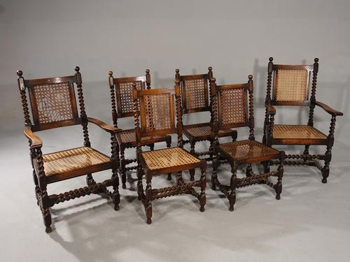 Attractive Set of 6 Early 20th Century Jacobean Style Chairs in Oak (1 of 4)