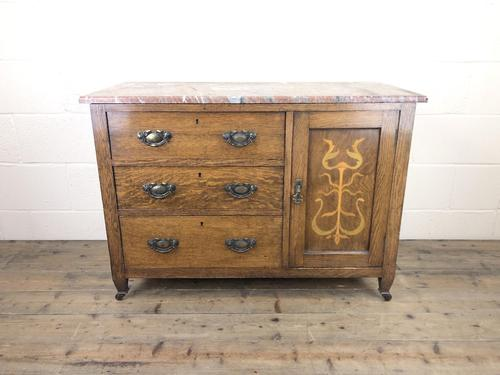 Antique Oak Arts & Crafts Marble Top Cupboard (1 of 12)