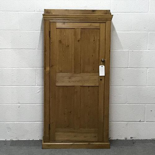 Tall Slim Shallow Old Pine School Cupboard (1 of 5)