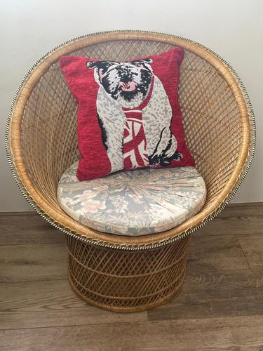 Vintage Boho Mid 20th Century Rounded Peacock Rattan Chair with Cushion (1 of 15)