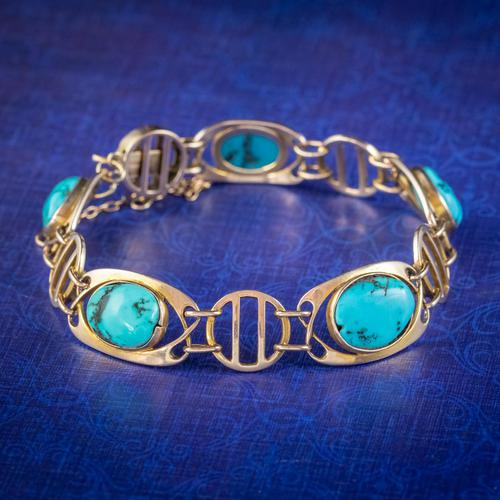 Antique Victorian Art Nouveau Turquoise Matrix Bracelet 9ct Gold Murrle Bennett Circa 1900 (1 of 7)