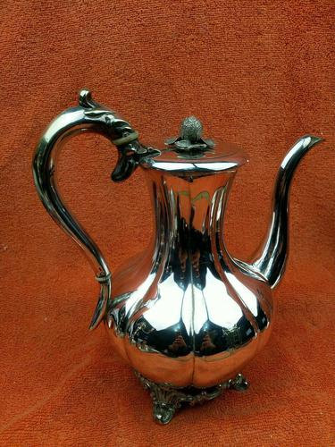 Antique Pumpkin Shaped Silver Plated Coffee Water Tea Pot c.1830 (1 of 13)