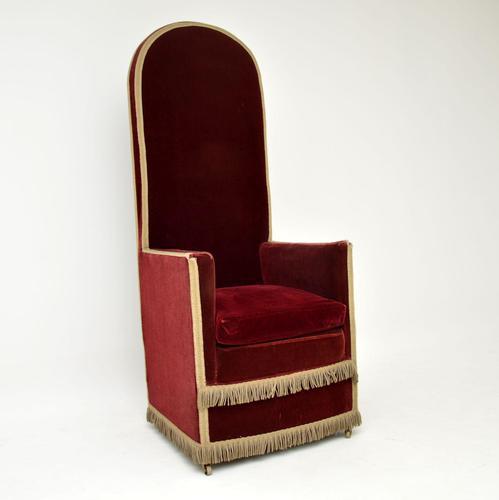 Antique Victorian Velvet Porters Chair / Armchair (1 of 11)