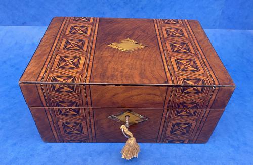 Victorian Mahogany Box with Tunbridge Ware Bands (1 of 15)