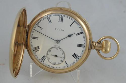 1925 9K Gold Elgin Full Hunter Pocket Watch (1 of 4)