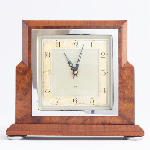 Smiths Art Deco Burr Walnut Cased 8-Day Mantle Clock c1935 (1 of 9)