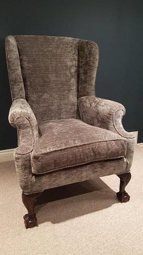 Top Quality Antique Upholstered Wing Armchair (1 of 7)