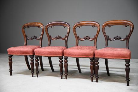 4 Mahogany Balloon Back Dining Chairs (1 of 12)
