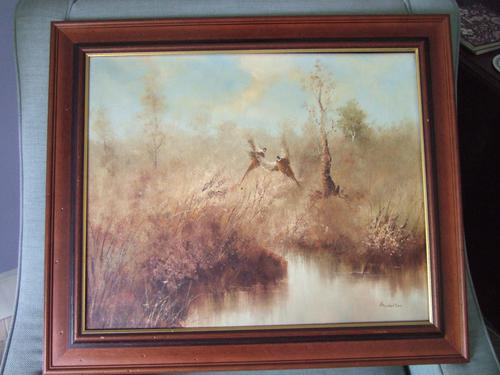 B Norton:  Oil Painting on Canvas of Pheasants in Marshland Setting (1 of 4)