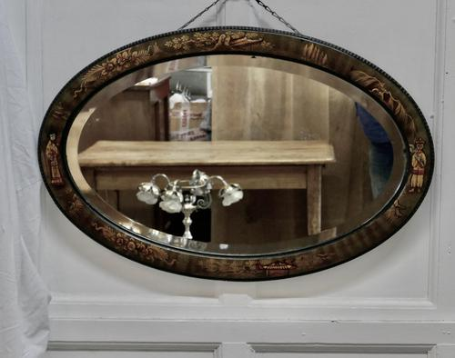 Black Lacquer Chinoiserie Oval Wall Mirror (1 of 6)