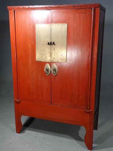 Original Late 19th Red Lacquer Chinese Wedding Cabinet (1 of 4)