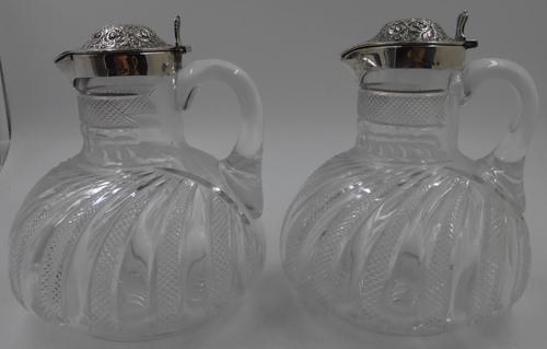 Pair of Antique Victorian Silver Mounted Claret Jugs. Birmingham 1888 (1 of 7)