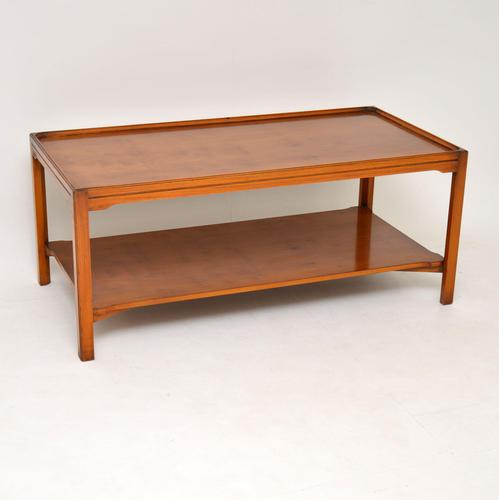 Antique Georgian Style Large Yew Wood Coffee Table (1 of 8)