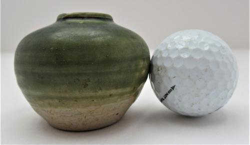 Small Vietnamese Hanoi trade ware jar or vase, stoneware, celadon type glaze, c1400 (1 of 5)