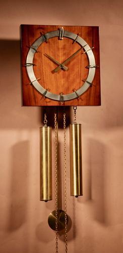 1960s Style Kienzle Walnut Brass Wall Clock (1 of 7)