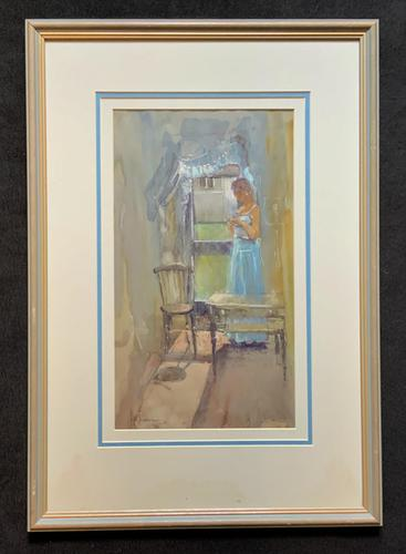 Stunning 20th Century Watercolour & Pastel Portrait Painting in Art Deco Manner (1 of 11)