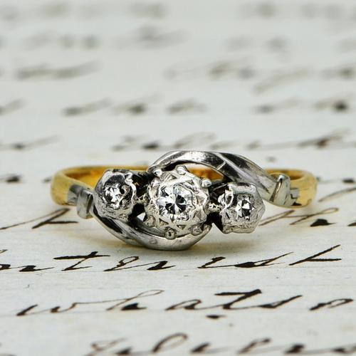 The Vintage Illusion Twist Brilliant Cut Diamond Ring (1 of 5)