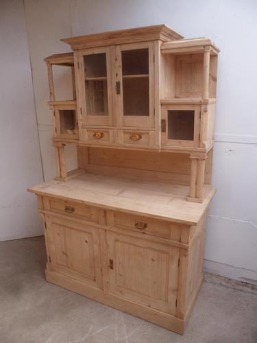 Original Arts & Crafts Antique Pine Glazed Kitchen Dresser to paint / wax (1 of 10)