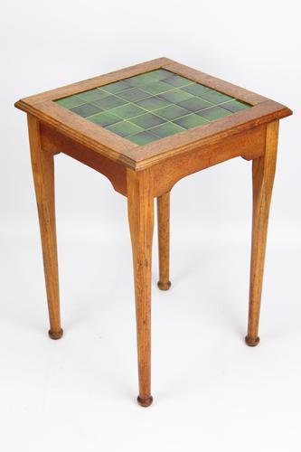 Edwardian Arts & Crafts Oak Tile Top Side Table (1 of 13)