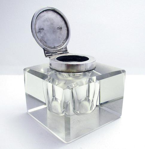 Elegant Large CUBE Antique Edwardian Solid Sterling Silver & Cut Glass English Inkwell Ink Pot Box, Plain 1902 (1 of 8)