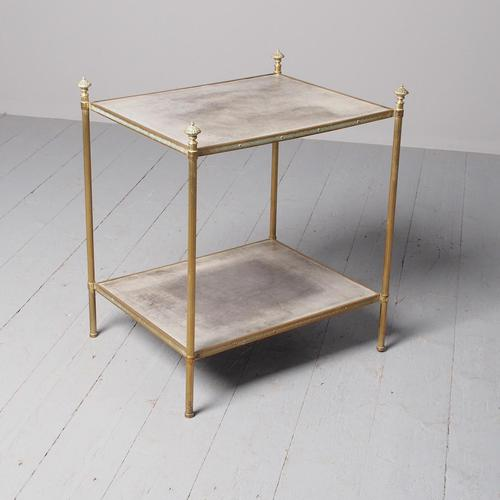 Brass & Leather 2 Tier Side Table (1 of 7)
