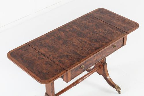 19th Century English Regency Burr Yew Sofa Table (1 of 10)