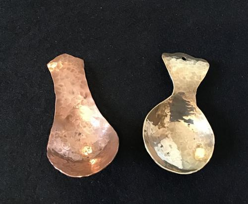 Arts and Crafts Planished Copper and Brass  Tea Caddy Spoons (1 of 3)