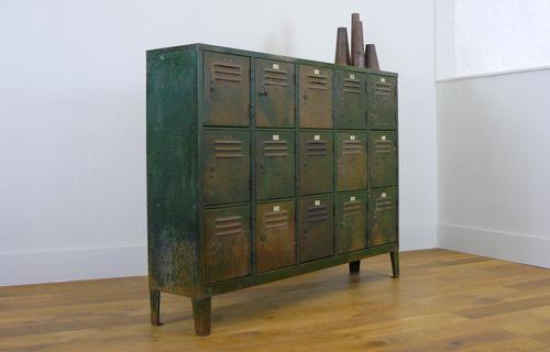 Vintage Industrial 15 Door Metal Workshop Cabinet Locker c.1930 (1 of 14)