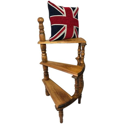 Victorian Style Light Oak Library Spiral Curved Step Ladder Stand (1 of 24)