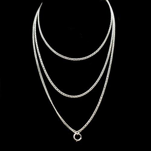 """Antique Silver Long Guard Muff Chain Necklace with Bolt Ring 48"""" Length (1 of 6)"""