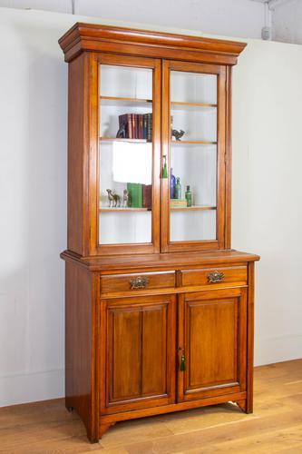 Handsome Victorian Walnut Glazed Bookcase C1890 (1 of 12)