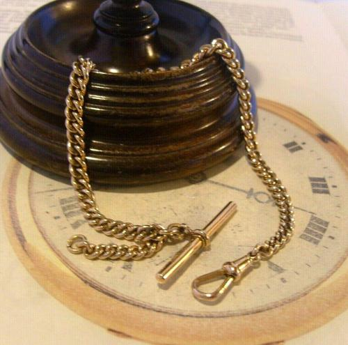 Antique Pocket Watch Chain 1890 Victorian 12ct Rose Rolled Gold Albert & T Bar (1 of 10)