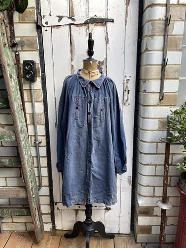 Antique French Faded Blue Linen Biaude Shirt Chemise Smock Size L (1 of 10)