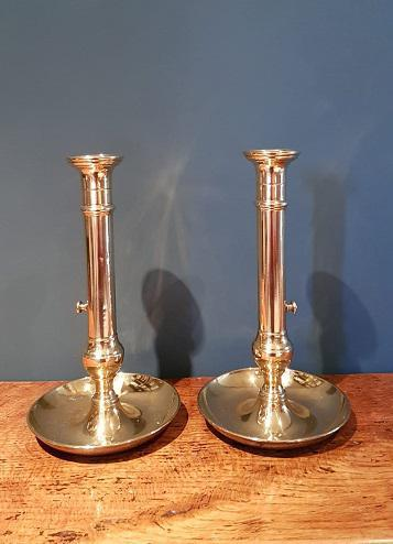 Superb Pair of Antique George III Brass Candlesticks (1 of 6)