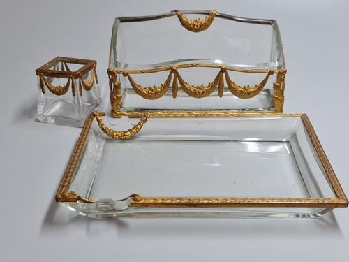 19thc Antique French Gilt Bronze Ormolu & Cut Crystal Desk Set - Letter Rack Holder, Pen / Note Tray & Pot (1 of 17)