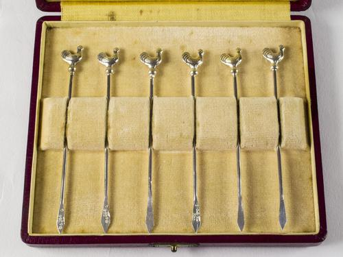 Cased Set Of Swedish Solid Silver Cockerel Cocktail Sticks Dated 1930 (1 of 4)