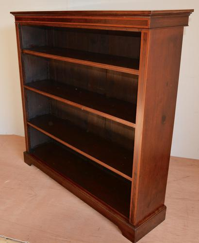 Mahogany Inlaid Open Bookcase (1 of 4)